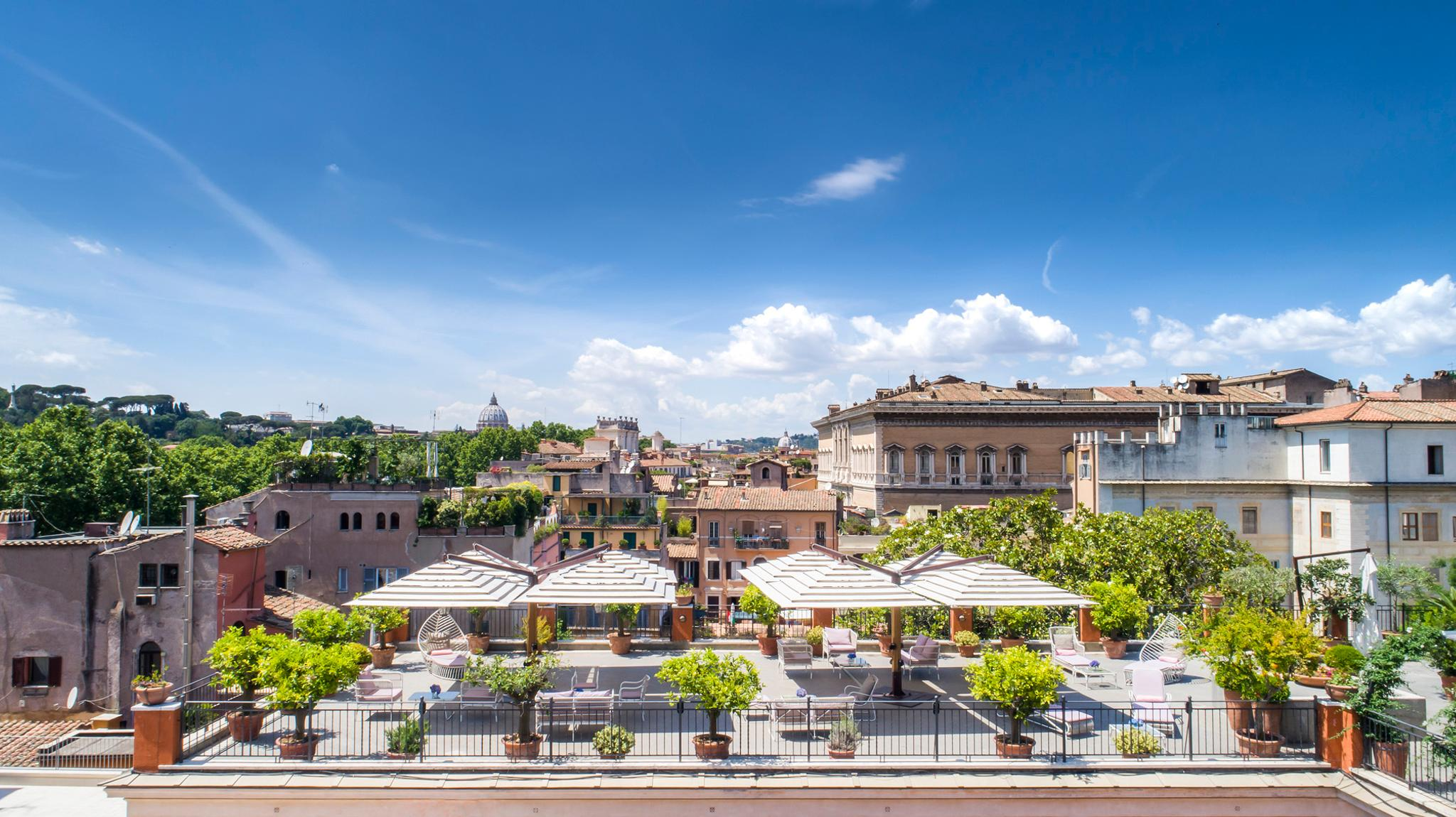 Garden and roof terrace hotel ponte sisto roma